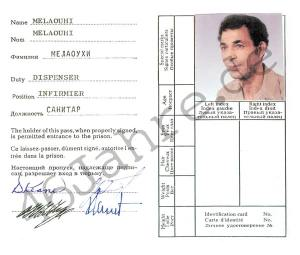 ID CARD: This was nurse Abdallah Melaouhi's ID card when he worked at Spandau Prison in West Berlin.