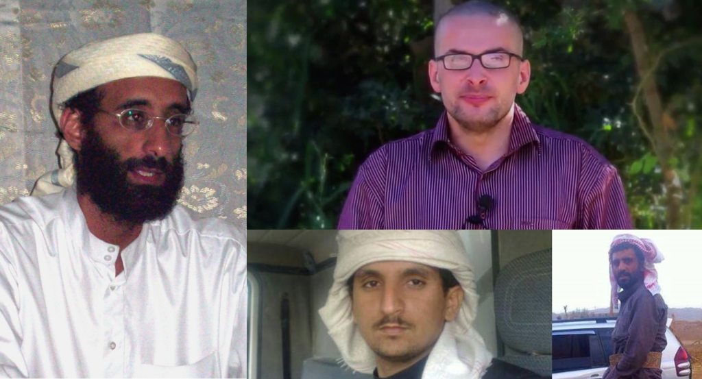 HOSTAGE RESCUE: Al Qaeda hostage in Yemen, US photojournalist Luke Somers (top right) was held by the tribe of the late AQAP leader Anwar Al-Awlaki (left). Two brothers and tribe members were killed in the failed US hostage attempt in Yemen on Friday 5 November. Photos: AQAP video, Wikipedia commons, AQAP twitter account.