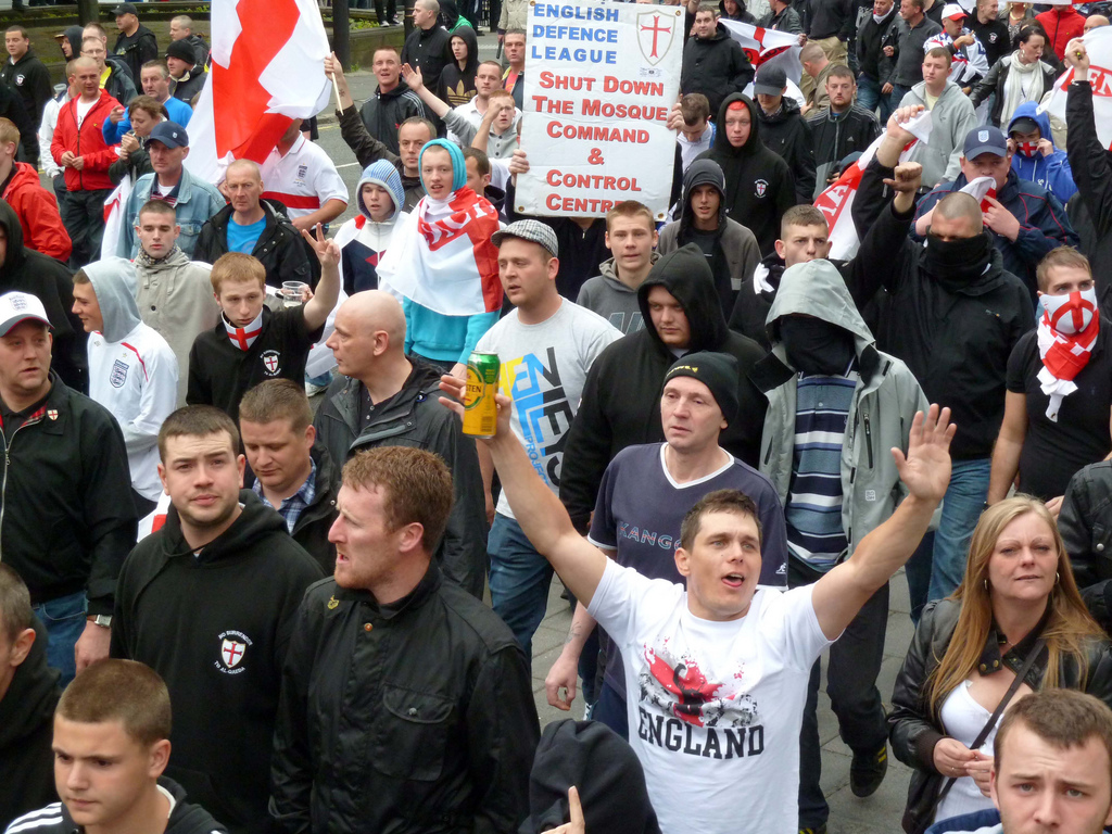 An English Defense League demonstration in Newcastle. Photo: Gavin Lynn, under a Creative Commons BY 2.0 license.