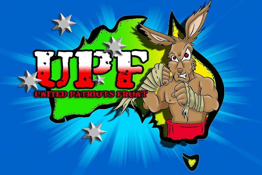 One logo used by the United Patriots Front, featuring a boxing cangaroo.