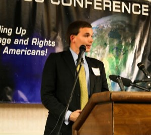 2008: Esa Henrik Holappa speaking to fellow national socialists at a conference in the US. Photo: PRIVATE
