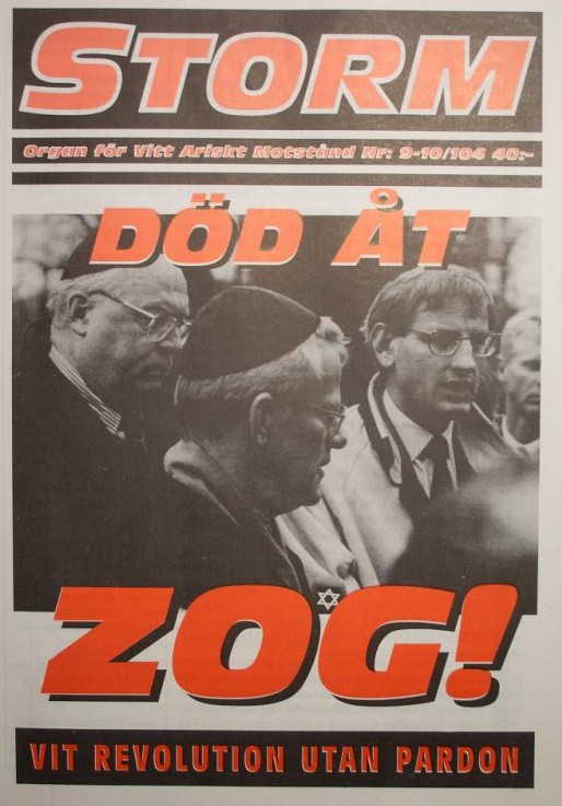 "An issue of ""Storm"", a Nazi magazine published in Sweden in the late 1980s and early 1990s. For a while the magazine functioned as a Vitt Ariskt Motstånd newsletter."