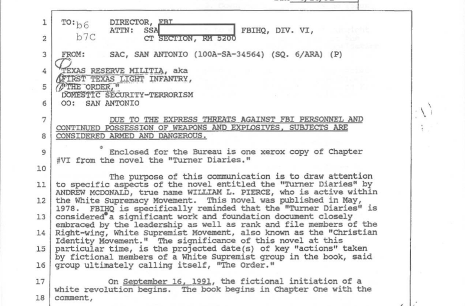 The 1991 FBI memo on the Turner Diaries, which was released to Intelwire through the Freedom of Information Act in 2006.