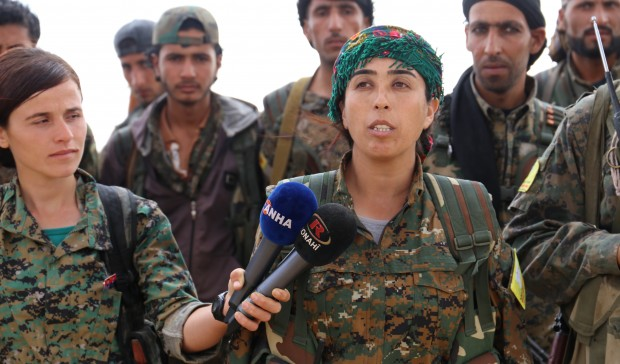 "Syrian Democratic Forces commander, Rojda Felat, declaring the start of the operation ""to liberate northern Raqqa"". Photo: (C) ANHA, reused with permission"
