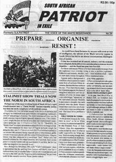 The front page of one edition of the South African Patriot in Exile