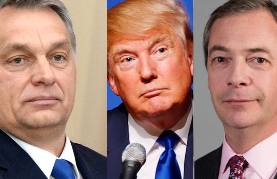 All photos from WikiCommons. Sources: Michael Vadon (Trump), Kremlin (Orbán) and David Iliff (Farage). Under Creative Commons BY-SA 2.0, 4.0 and 3.0 respectively.
